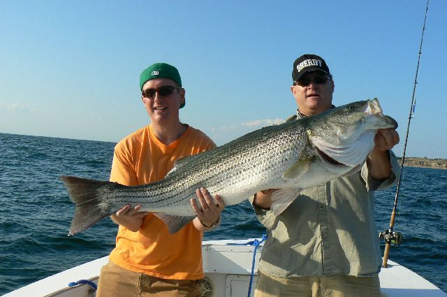 Captain Stephen Sheriff with his 37 lb. Striped Bass